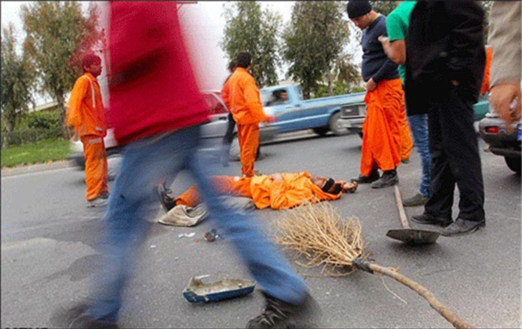 برخورد یک دستگاه پراید با پاکبان در تقاطع احمدزاده