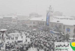گزارش تصویری راهپیمایی ۲۲بهمن در روز برفی رشت