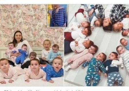 زن روسی صاحب ۱۰ فرزند در ۱۰ ماه شد
